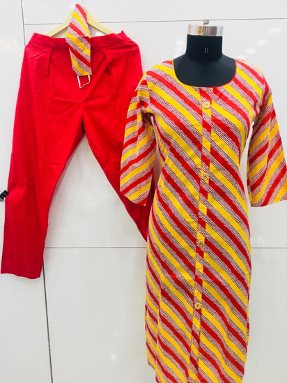 Picture of Junjely Yellow and Red mix Kurta -