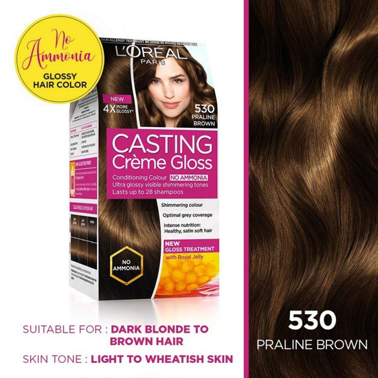 Picture of L'Oreal Paris Casting Creme Gloss Hair Color, Praline Brown 530
