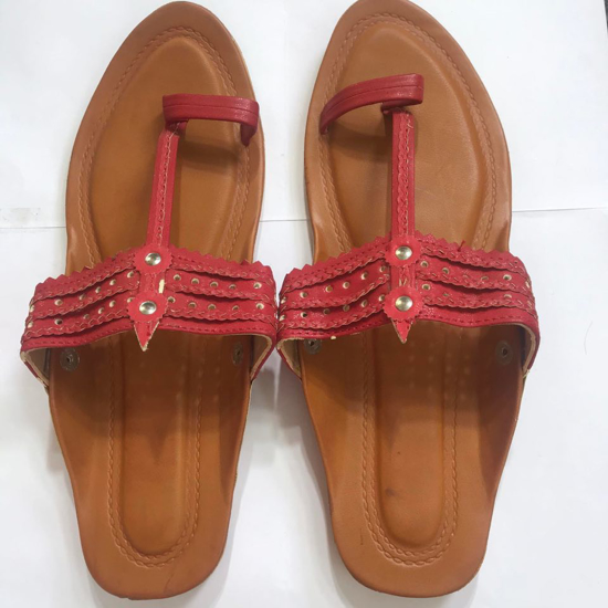 Picture of Red Leather Kolapuri Comfy Slippers
