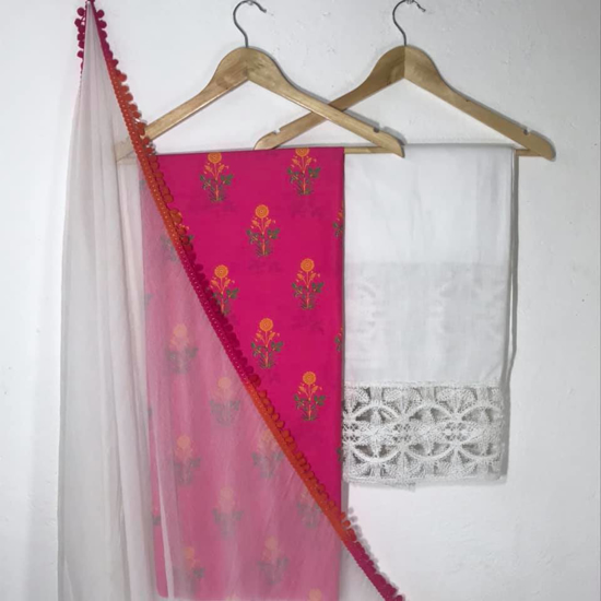 Picture of Printed Kurta and Bottom With Lace Work