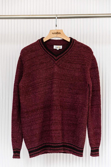 Picture of Maroon V-Neck Wollen Sweater