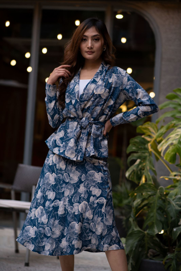 Picture of Leaf Printed Cotton Silk Wrap Top & Skirt Set