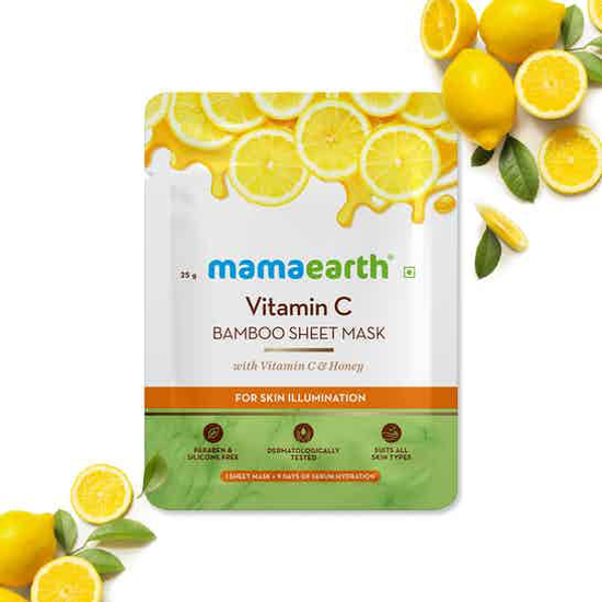 Picture of Mamaearth Vitamin C Bamboo Sheet Mask with Vitamin C & Honey - 25G