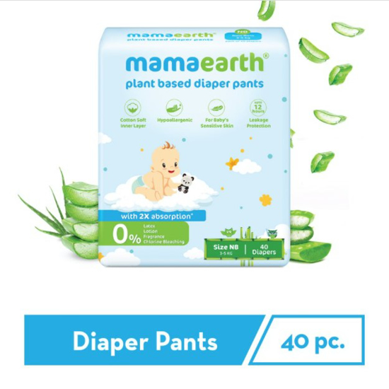 Picture of Mamaearth Plant-Based Diaper Pants for Babies – 3-5 kg (Size NB - 40 Diapers)