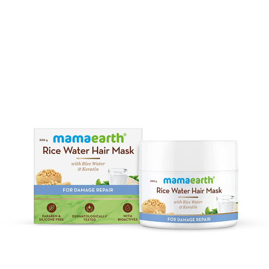 Picture of Mamaearth Rice Water Hair Mask with Rice Water and Keratin For Smoothening Hair and Damage Repair - 200 g