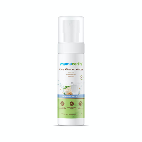 Picture of Mamaearth Rice Wonder Water Hair Serum for Women With Rice Water and Keratin For Detangled Hair in 7 Seconds - 100 ml