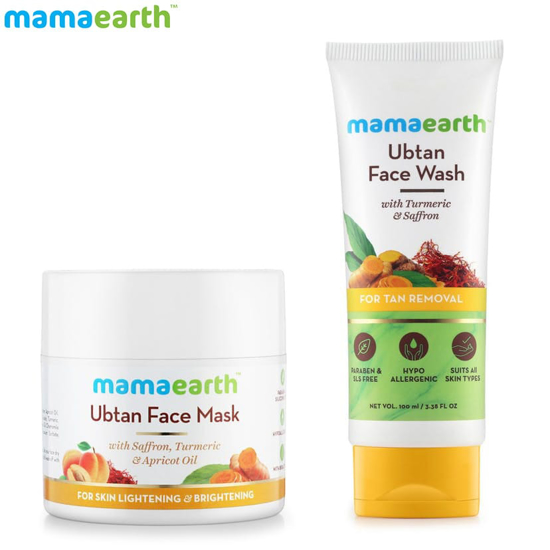 Picture of Mamaearth Skin Lightening and Brightening Combo : Ubtan Facemask - 100ml and Ubtan Facewash - 100ml